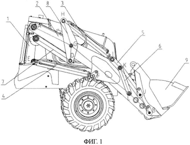 Рабочий орган переднего восьмизвенного механизма для погрузочной стороны экскаваторной погрузочной машины