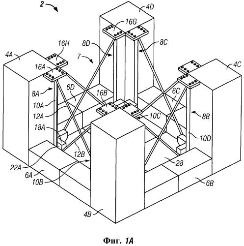 Фермовая система плиты против вертикальной качки для морского основания