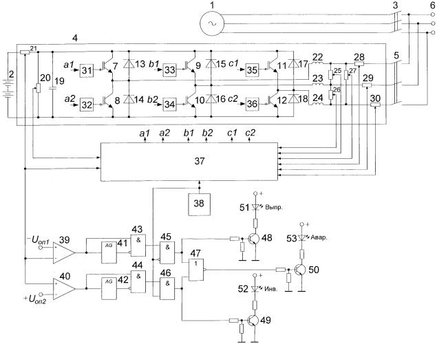 Устройство контроля работы обратимого преобразователя напряжения в энергоустановке с источниками переменного и постоянного тока