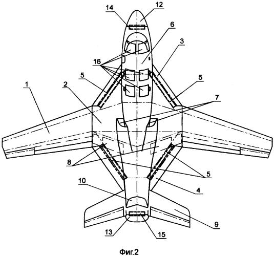 Самолет пониженной радиолокационной заметности палубного и наземного базирования с системой антенн кругового обзора