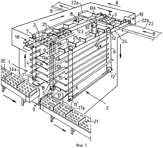 Устройство для временного размещения поддонов для продуктов и установка для обработки теста, содержащая такое устройство
