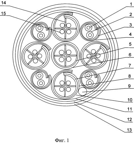 Экранированный комбинированный симметричный четырехпарный кабель 7 категории с экранированными оптическими модулями открытого типа