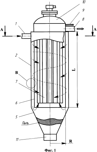 Способ очистки грязного газа или воздуха от пыли в циклонном рукавном фильтре с помощью гибкой сетчатой мембраны и рукавов циклонного рукавного фильтра