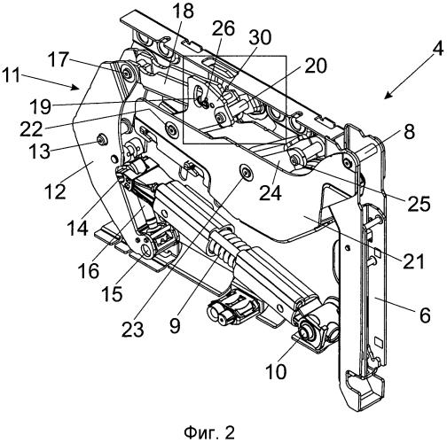 Привод для откидной дверцы предмета мебели