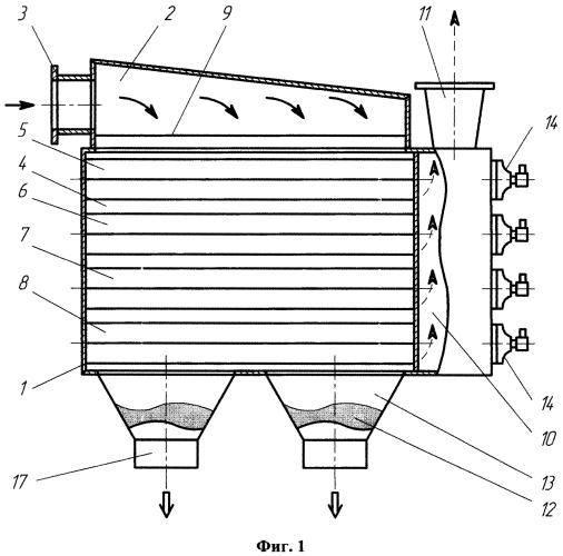 Способ очистки грязного газа или воздуха от пыли в рукавном фильтре с помощью решетки и горизонтально расположенных рукавов рукавного фильтра