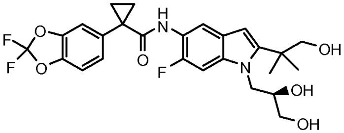 Твердые формы (r)-1-(2,2-дифторбензо[d][1,3]диоксол-5-ил)-n-(2,3-дигидроксипропил)-6-фтор-2-(1-гидрокси-2-метилпропан-2-ил)-1h-индол-5-ил)циклопропанкарбоксамида