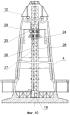 Способ строительства с применением многоклеточного шахтного подъемника высотных железобетонных труб с большой толщиной футеровки с малым выходным диаметром и с большим отношением выходного диаметра к диаметру в основании