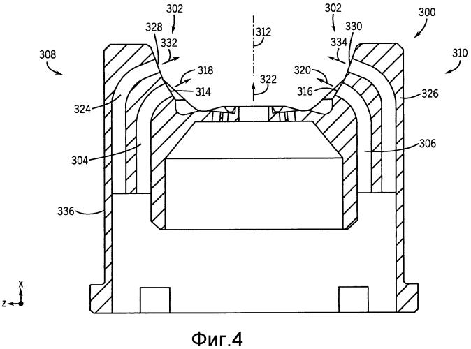 Распылительное устройство, имеющее криволинейные каналы