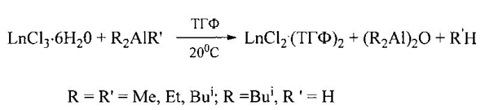 Способ получения люминесцирующих растворимых комплексов двухвалентных лантанидов lncl2∙(тгф)2 (ln=eu, yb, sm)