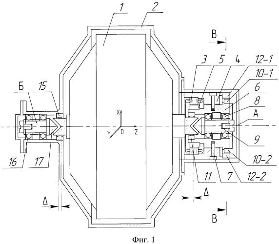 Устройство арретирования ротора электродвигателя-маховика в магнитном подвесе