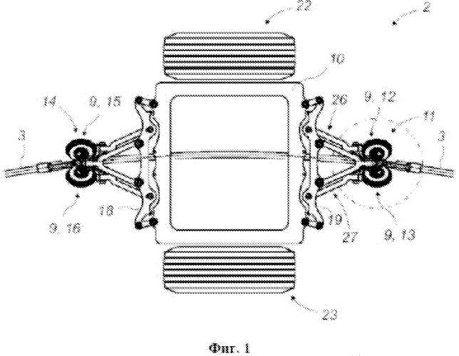 Система динамического контроля качения направляющего катка (катков) узла, направляющего транспортное средство вдоль по меньшей мере одного рельса