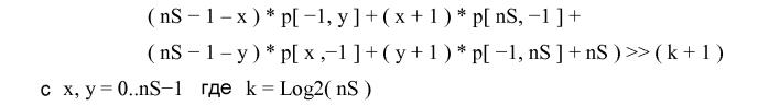 Заполнение краевых пикселов неинформативными символами для внутреннего предсказания при кодировании видеосигнала