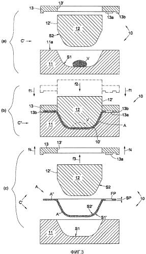 Пресс-форма с монолитной матрицей для формования стеклянного изделия, такого как миска для салата или подобная емкость с, поменьшей мере, одним сквозным отверстием, соответствующее производственное оборудование и соответствующий формовочный процесс