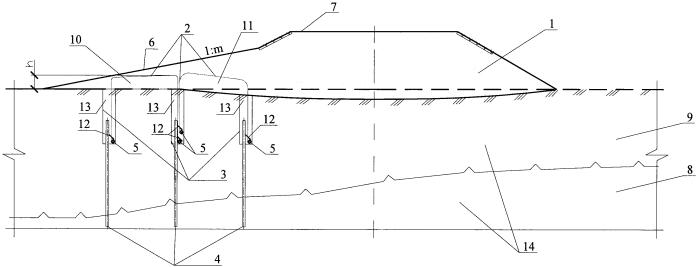 Конструкция для стабилизации земляного полотна и деятельного слоя эксплуатируемой автомобильной дороги