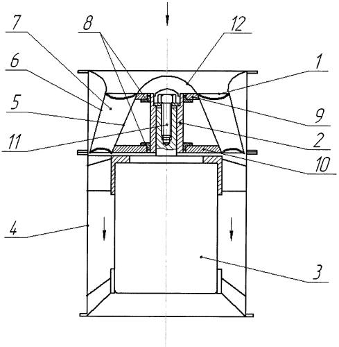 Устройство крепления рабочего колеса диагонального вентилятора