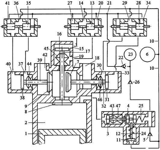 Способ реверсирования двигателя внутреннего сгорания реверсивным стартерным механизмом и системой гидравлического привода трёхклапанного газораспределителя с зарядкой гидроаккумулятора системы из компенсационного гидроаккумулятора