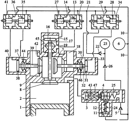 Способ реверсирования двигателя внутреннего сгорания реверсивным стартерным механизмом и системой пневматического привода трёхклапанного газораспределителя с зарядкой пневмоаккумулятора системы из компенсационного пневмоаккумулятора