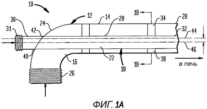 Нецентровая кислородно-топливная горелка для стеклоплавильных систем