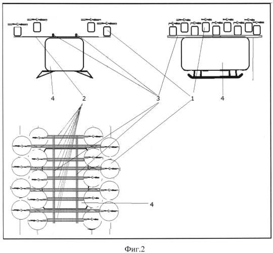 Мультикоптер с линейным расположением винтомоторных групп