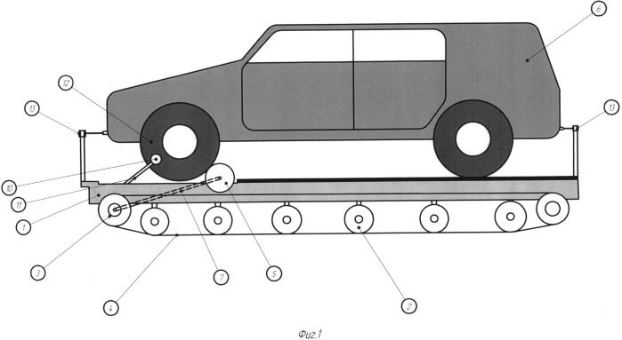 Быстросъемная гусеничная приставка для увеличения проходимости автомобиля