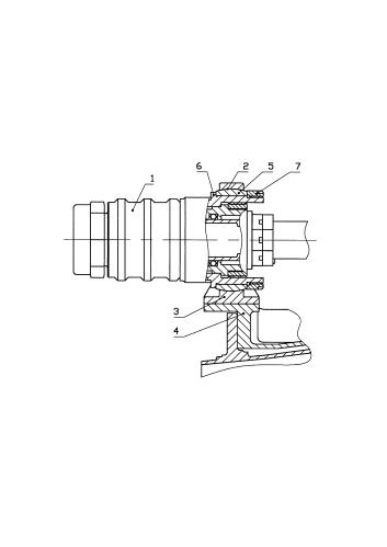 Узел соединения силового цилиндра привода направляющих аппаратов с промежуточным корпусом газотурбинного двигателя