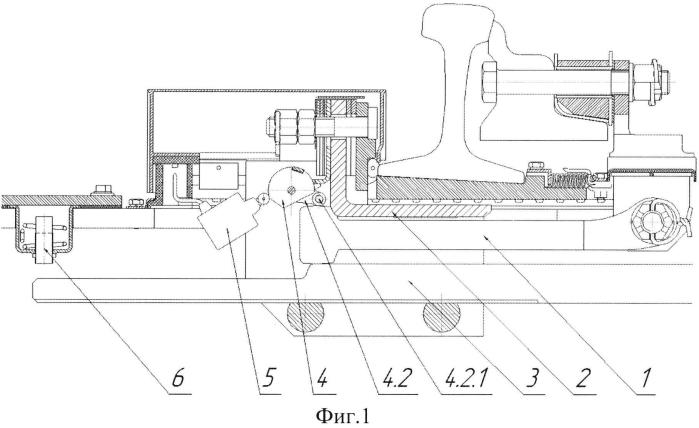 Стрелочный электропривод в полом металлическом брусе с устройством контроля положения кляммеры
