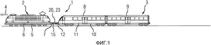 Переходная сцепка, подвижной состав, включающий в себя по меньшей мере две единицы подвижного состава, сцепные устройства которых сцеплены посредством такого рода переходной сцепки, и способ сцепления сцепных устройств двух единиц подвижного состава