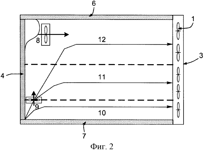Способ вентиляции сильно загроможденного помещения и устройство для его осуществления
