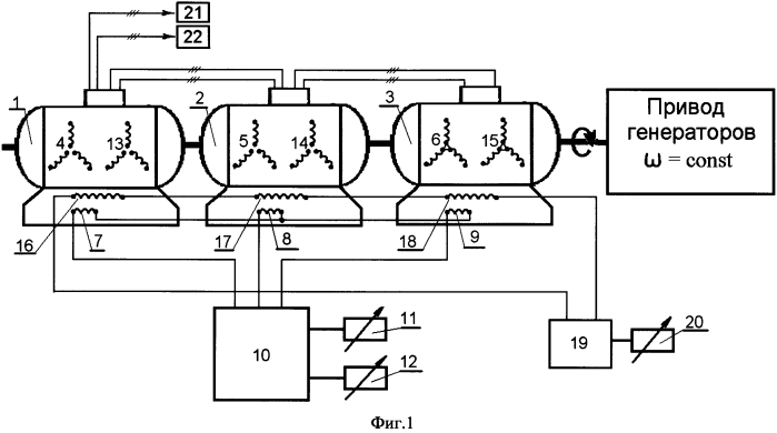 Устройство получения регулируемого по частоте напряжения на выходе многофазного генератора переменного тока с постоянной частотой вращения вала