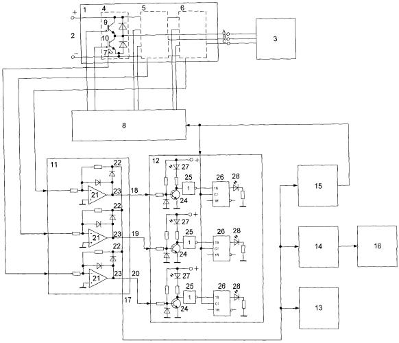 Устройство контроля тепловых режимов силовых модулей преобразователя