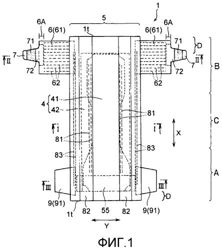 Подгузник одноразового использования и способ его изготовления