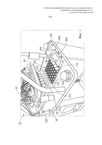 Система продвижения лотка для яиц для инъекционного устройства для инъецирования in ovo и соответствующий способ