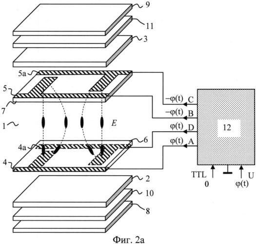 Способ управления амплитудой и направлением электрического поля в слое жидкого кристалла, устройство для управления амплитудой и направлением электрического поля в слое жидкого кристалла и жидкокристаллический модулятор света