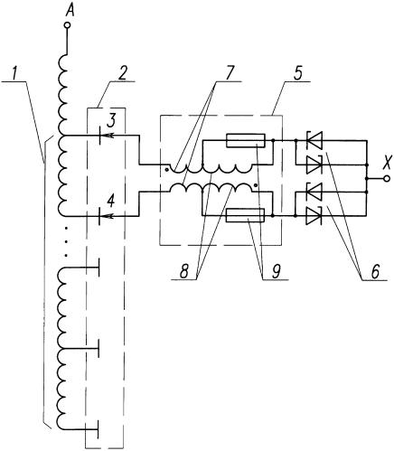 Трансформаторно-тиристорное устройство для плавноступенчатого регулирования напряжения под нагрузкой