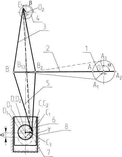 Коленно-рычажный привод механического пресса с двойным проходом крайнего рабочего положения ползуна