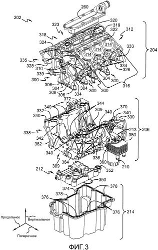 Несущий каркас (варианты) в узле блока цилиндров двигателя и способ работы системы смазки в двигателе