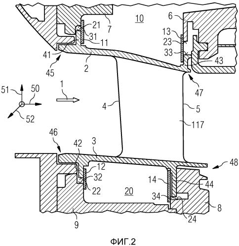 Компонент турбины с листовыми уплотнениями и способ уплотнения от утечки между лопаткой и несущим элементом