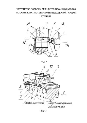 Устройство подвода охладителя к охлаждаемым рабочим лопаткам высокотемпературной газовой турбины