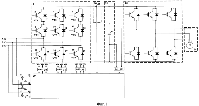 Рекуперирующий электропривод переменного тока с двухзвенным преобразователем частоты
