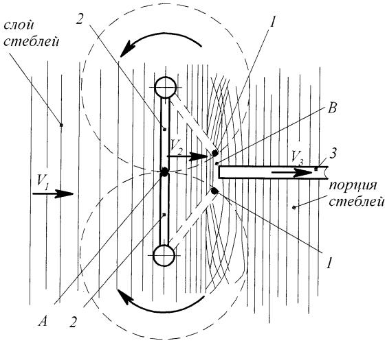 Способ разделения на порции слоя стеблей льна-долгунца