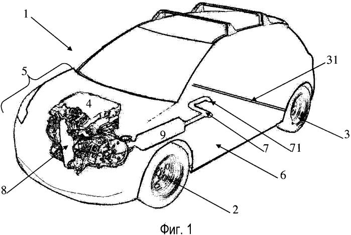 Автотранспортное средство, содержащее выхлопную линию, акустические средства которой расположены перед задним мостом