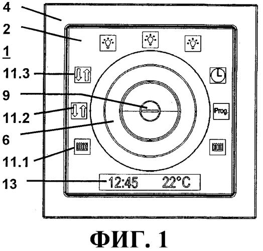 Многофункциональное устройство управления, снабженное вращающейся ручкой и функциональными символами