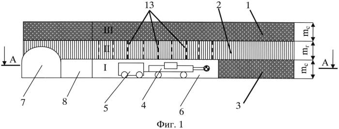Способ разработки мощных пологих калийных пластов