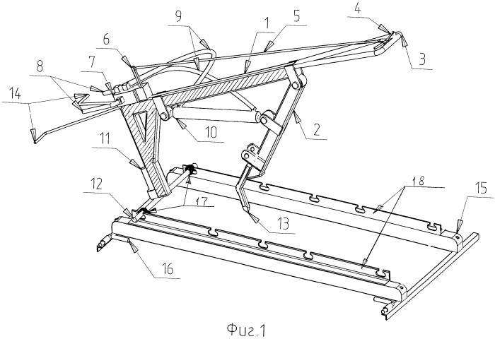 Установка моторно-гидравлическая для удаления балласта из шпальных ящиков железнодорожного пути и ее опорная рамка