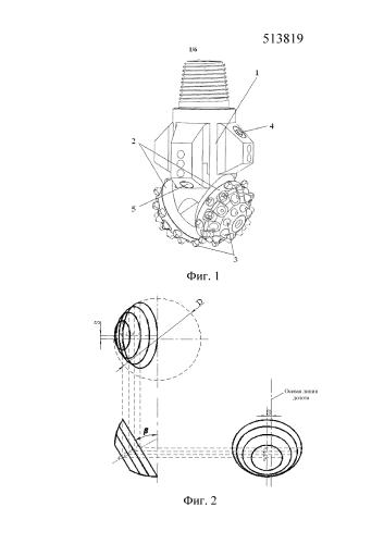 Шарошечное долото для разрушения породы роторным бурением