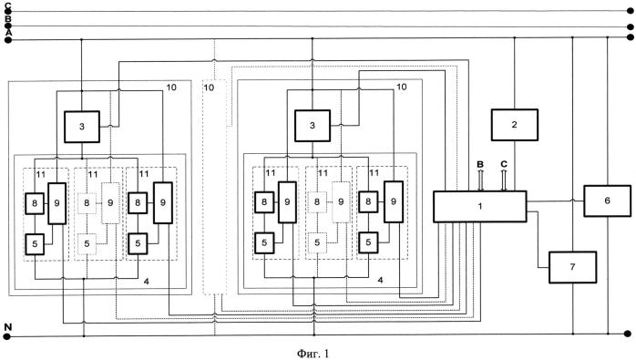 Способ и устройство управления адаптивной системой энергосбережения n-фазной сети