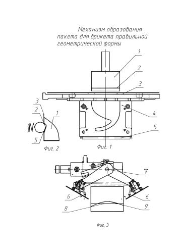 Механизм образования пакета для брикета правильной геометрической формы