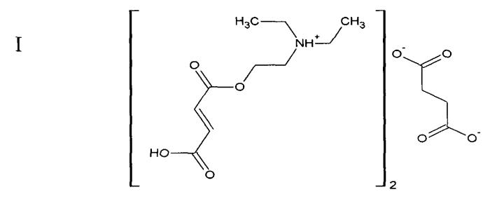 Нейропротекторное средство на основе бис{ 2-[(2e)-4-гидрокси-4-оксобут-2-еноилокси]-n,n-диэтилэтанаминия} бутандиоата