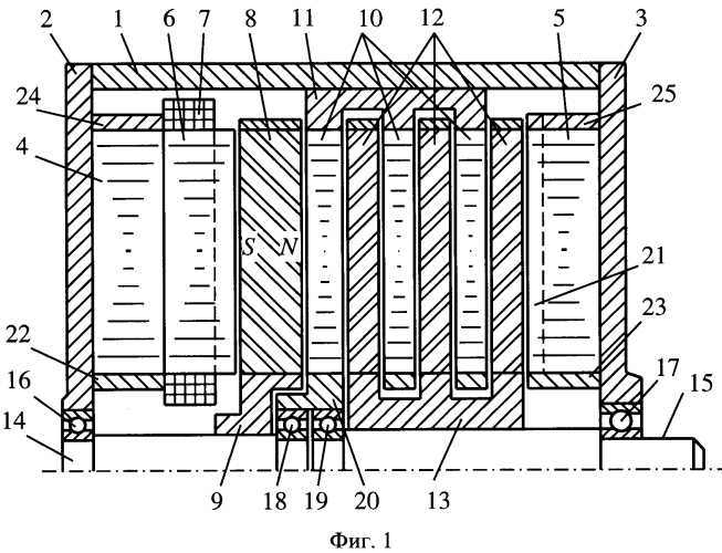 Синхронный электродвигатель с магнитной редукцией
