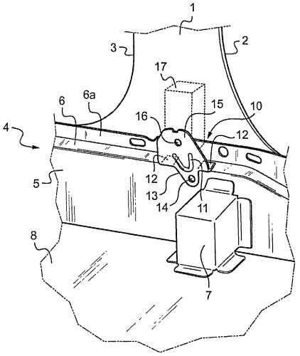 Устройство крепления наматывателя ремня безопасности для кресла автотранспортного средства